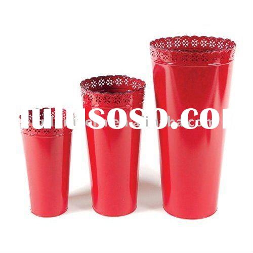 Red Metal Tall Decorative Bucket Flower Vases