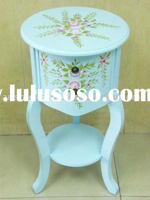 Wooden Hand Painted petite Floral Accent Table with 2 Drawers