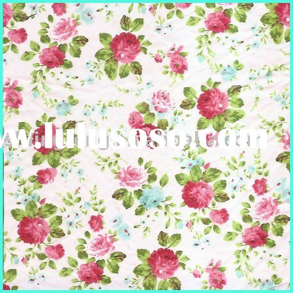 flower print fabric/border print fabric/printed muslin fabric