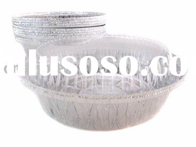 "7"" round foil container with clear plastic dome lid"