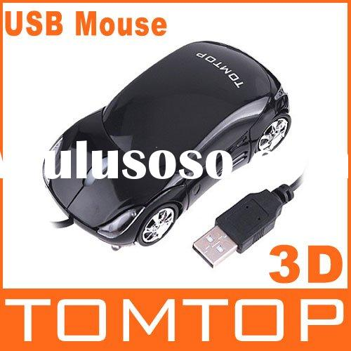 Cool Car Shape Black Mini Wired 3D Optical USB Mouse with TOMTOP Logo