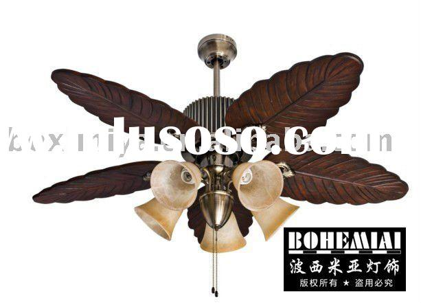 "Leaf Shape Wood Grain 52"" Ceiling Fan with 5 Frosted Lights"
