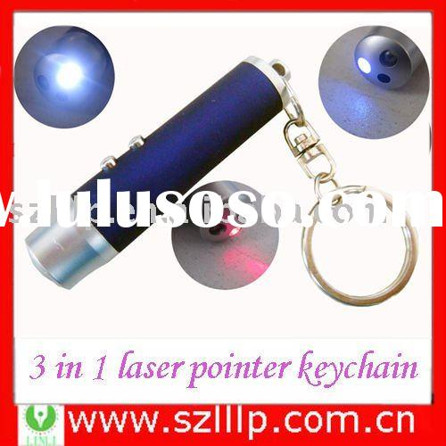 Supply 3 in 1 laser pointer keychain for teaching