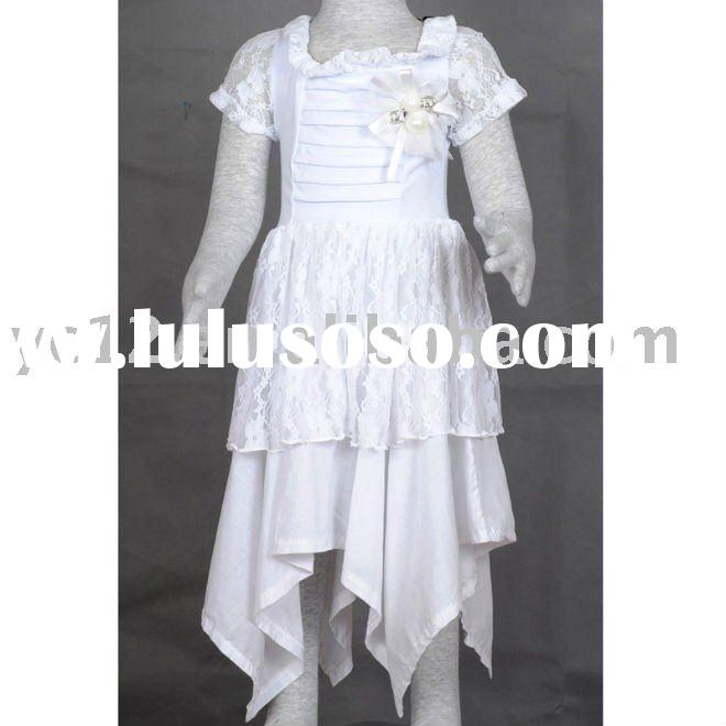 Stock: Brand Cotton Lace Short Sleeve Lace Collar Baby Girls Knitted Dress
