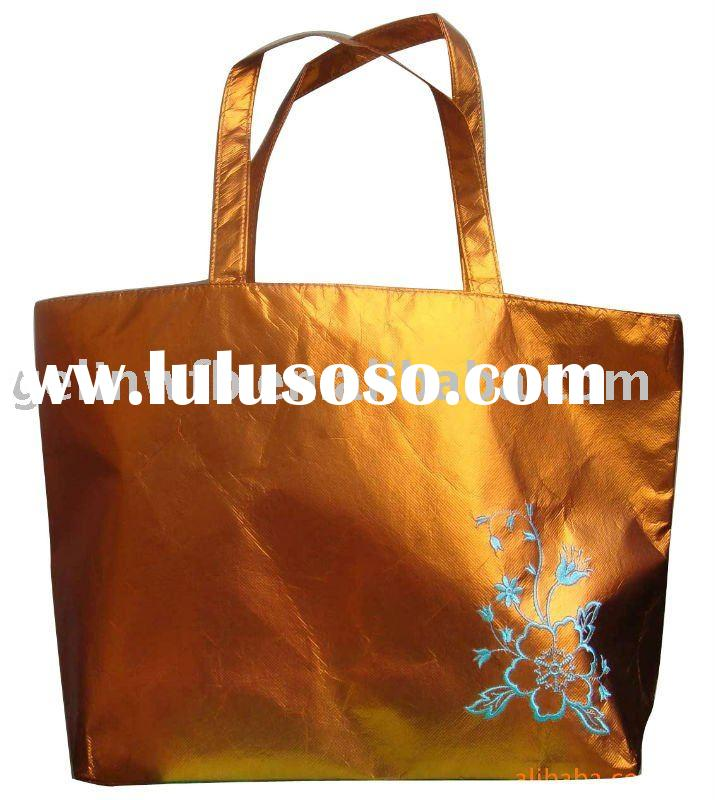 gold Aluminium foil laminated Non woven shopping bag with embroidering
