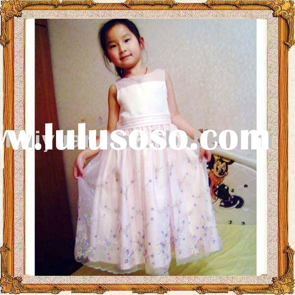 silk flower girl dress in pink
