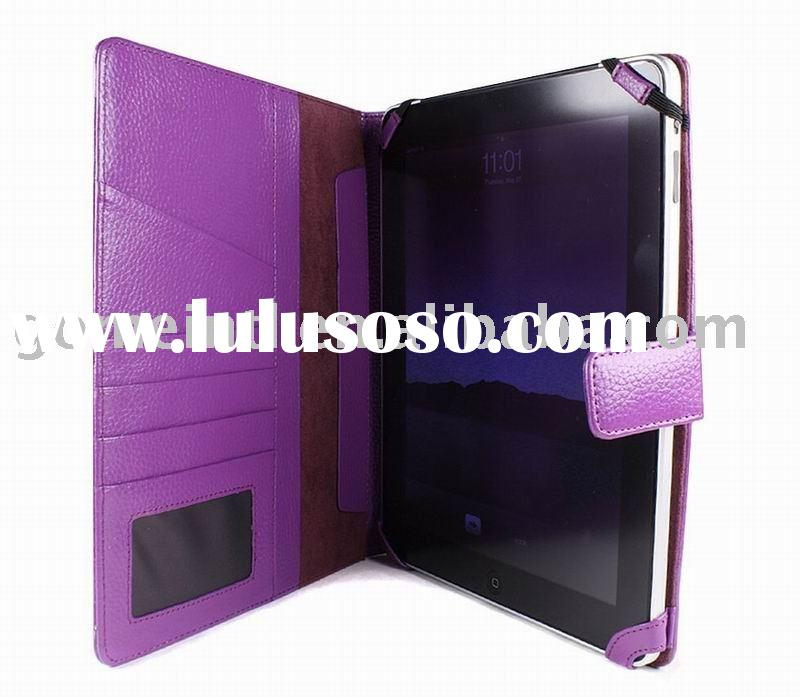 Leather PDA folder, Purple PC case, Faux leather pouch