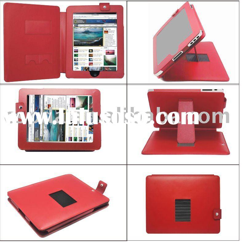 New bight red PU leather case for ipad
