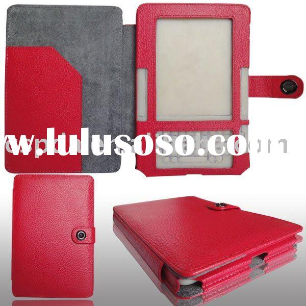 Red Genuine leather case covers for Amazon kindle 2 ebook