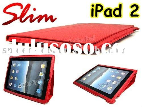 Red Slim Stand Leather case  for Ipad 2