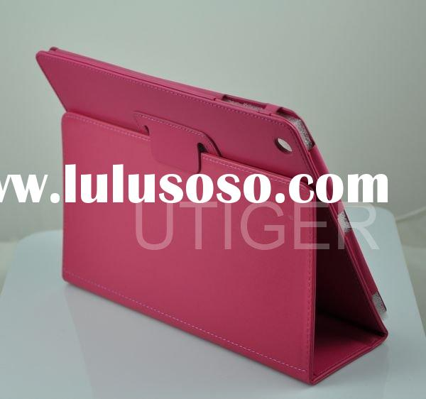 red leather case with stand for ipad 2