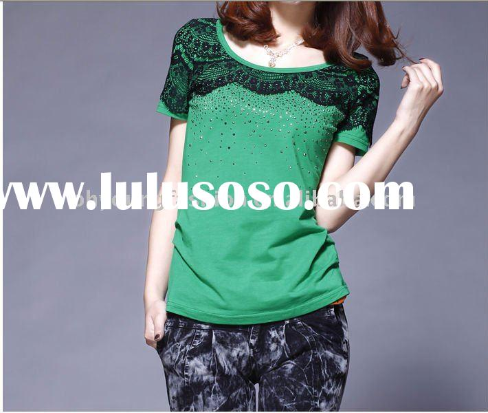 100% pure cotton solid color sweet puff sleeve with lace girl's short sleeve t shirt