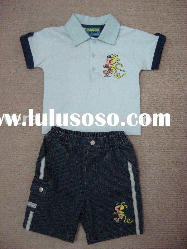 Baby boy's polo T-shirt + denim shorts set
