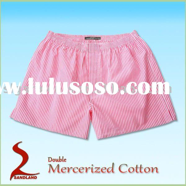 Double Mercerized cotton silk boxer shorts stripes