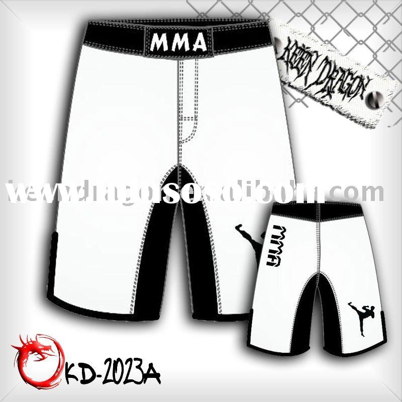 Men's MMA short 100% polyester white mma shorts