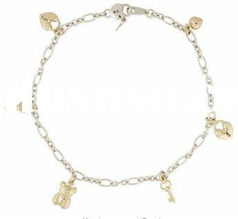 14k White and Yellow Gold Charm Anklet