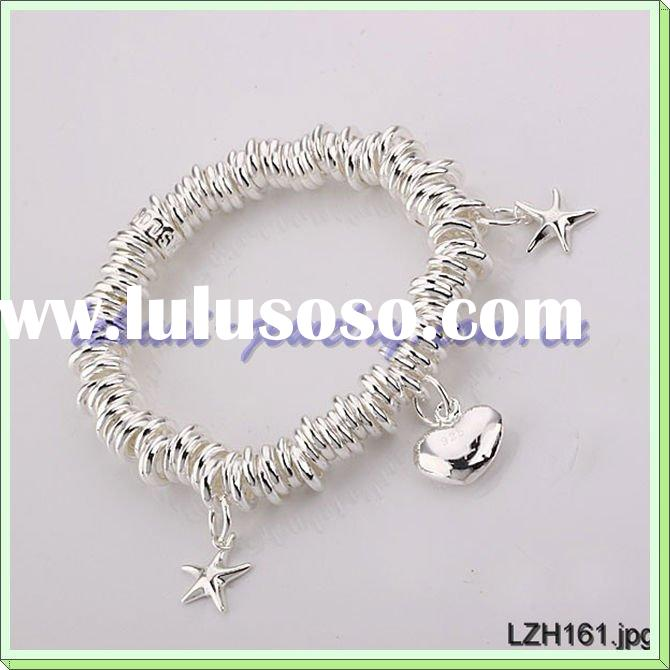 Fashion jewelry sterling silver charm bracelet