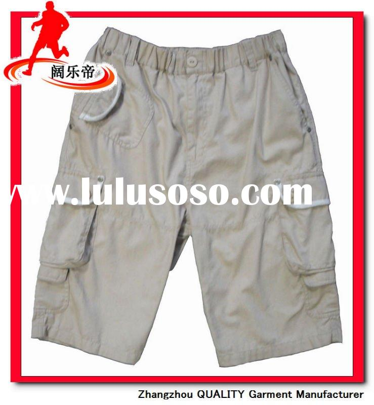 Men's 100% cotton elastic waistband summer casual shorts, with flap pockets,2011 new styles