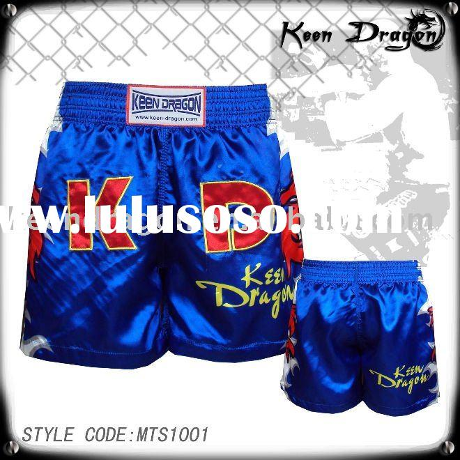 Men's boxing garment 100% polyester satin printed muay thai shorts