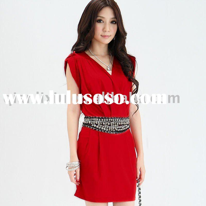 Plus size dress,Korean fashionable and vintage dress, waist with rivet, V shape collar (Q245)