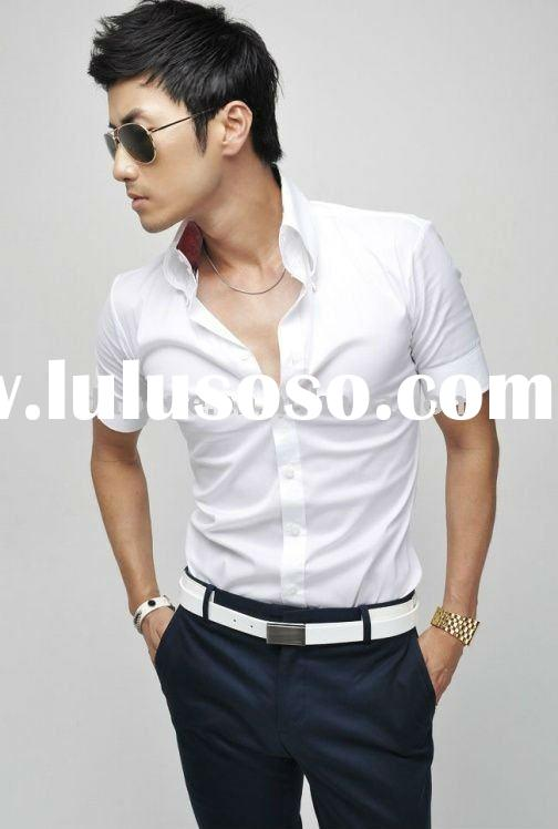 Short Sleeve Stylish Men's Shirts For young man Factory Custom-made Service