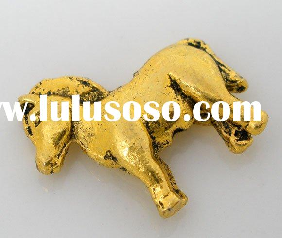 20 PCs Gold Tone Horse Charms Animal Beads Findings 17x15mm