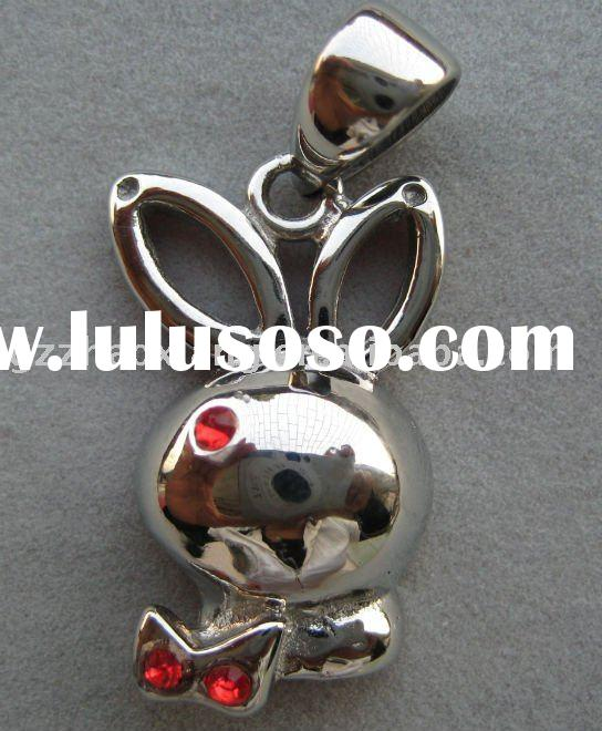 316L stainless steel red enamel rabbit animal charms pendants online wholesale
