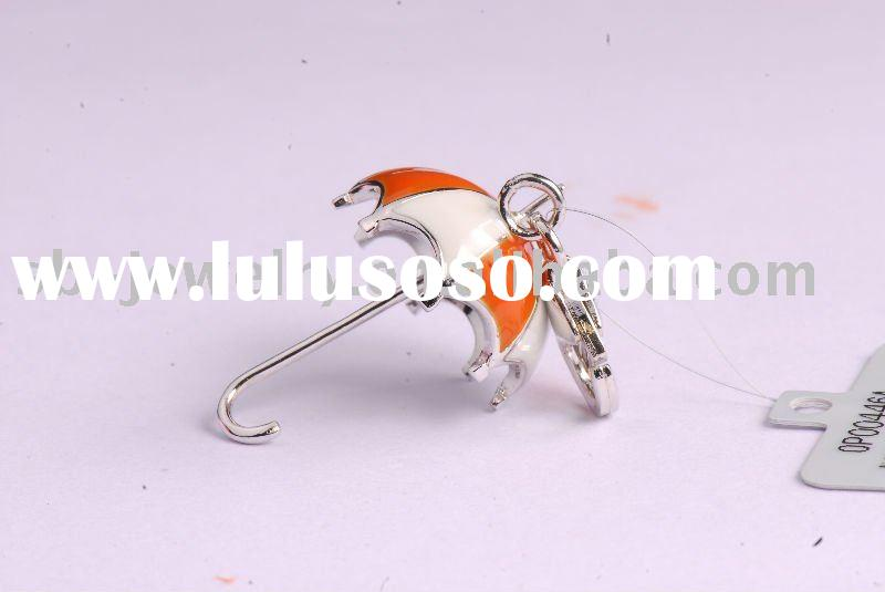 Silver Umbrella Charm With Enamel (Custom Design Welcome)