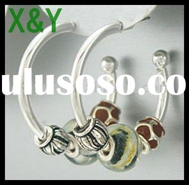 Silvertone Animal Print With Black & White Glass Sliding Charm Earrings (1 Inch)