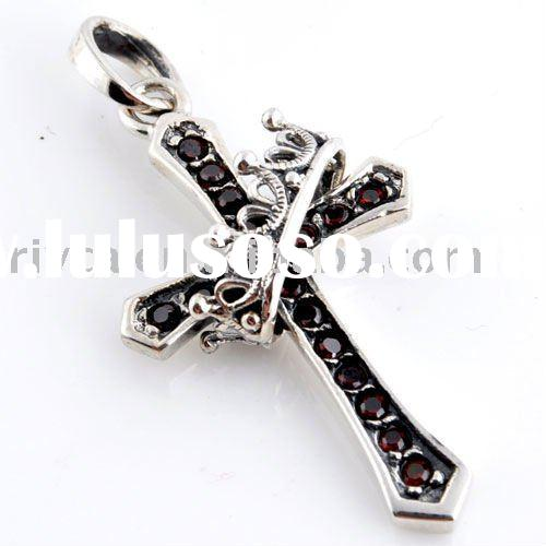 Sterling 925 silver antique cross and crown pendants or charms for jewelry