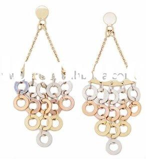 diamond-cut 14kt gold chandelier earrings