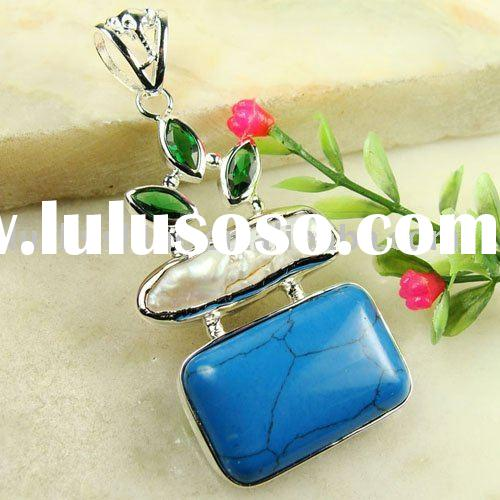 vintage gemstone  jewelry  925 silver turquoise pendant