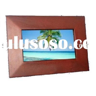 Digital Photo Frame with cherry wood frame
