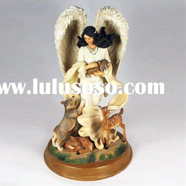 Resin Antique Angel Resin Angel with Animal