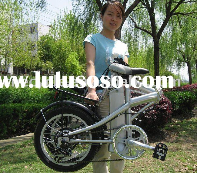 The lightest weight folding electric bicycle with Li-ion battery and alloy frame.
