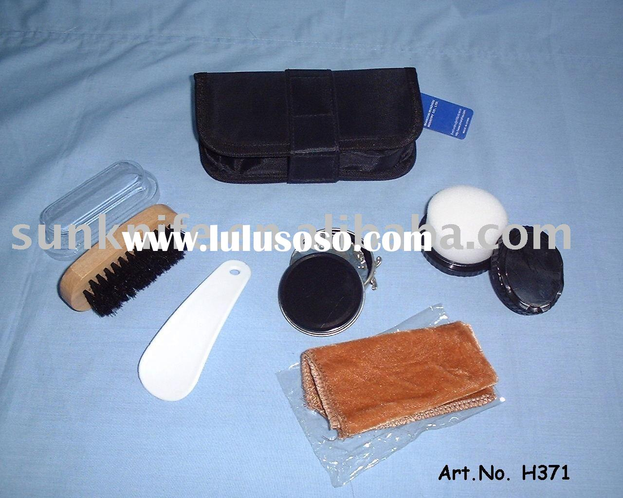shoe polish kit with PU pouch,green material