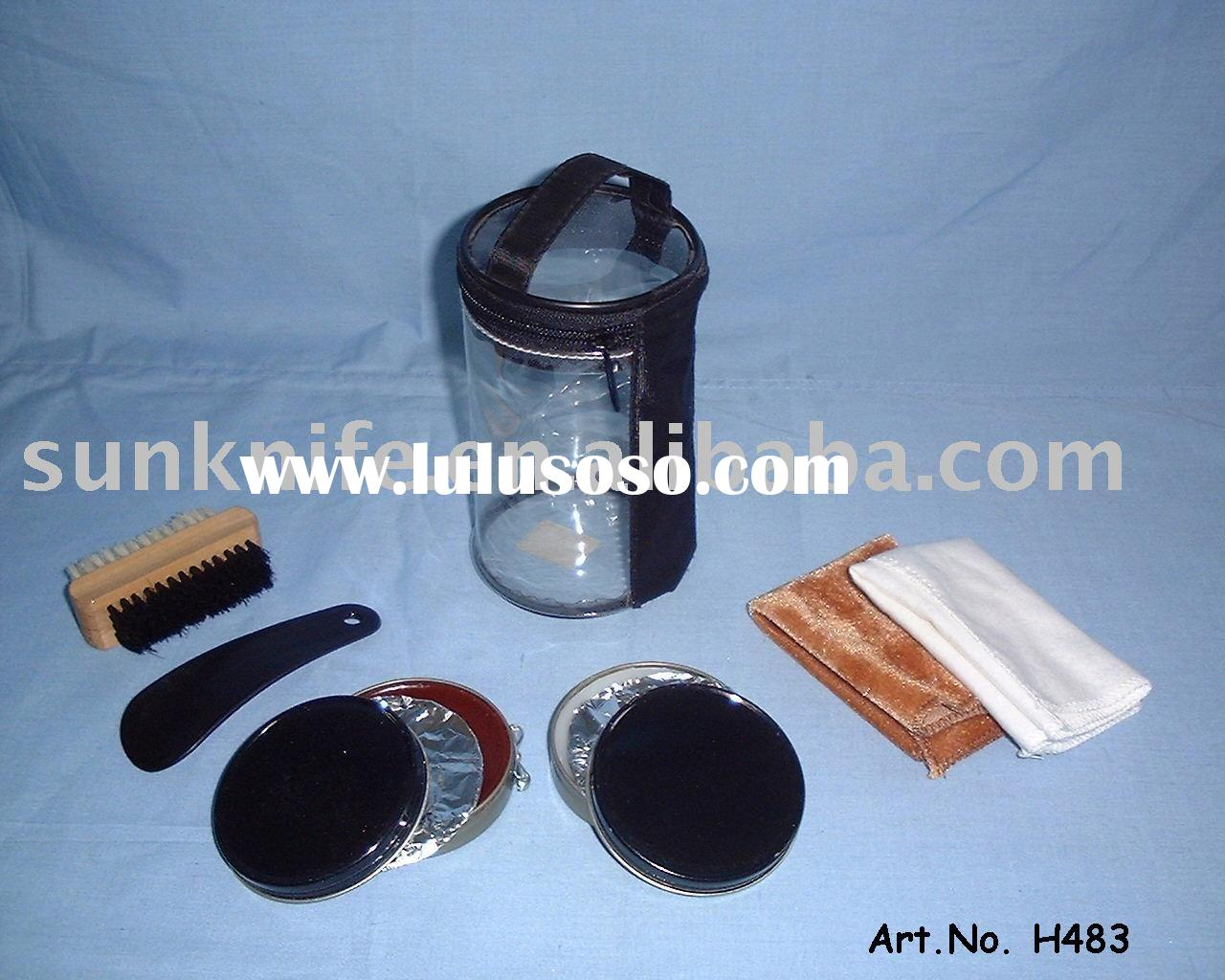 shoe polish kit with PVC tube,transparent