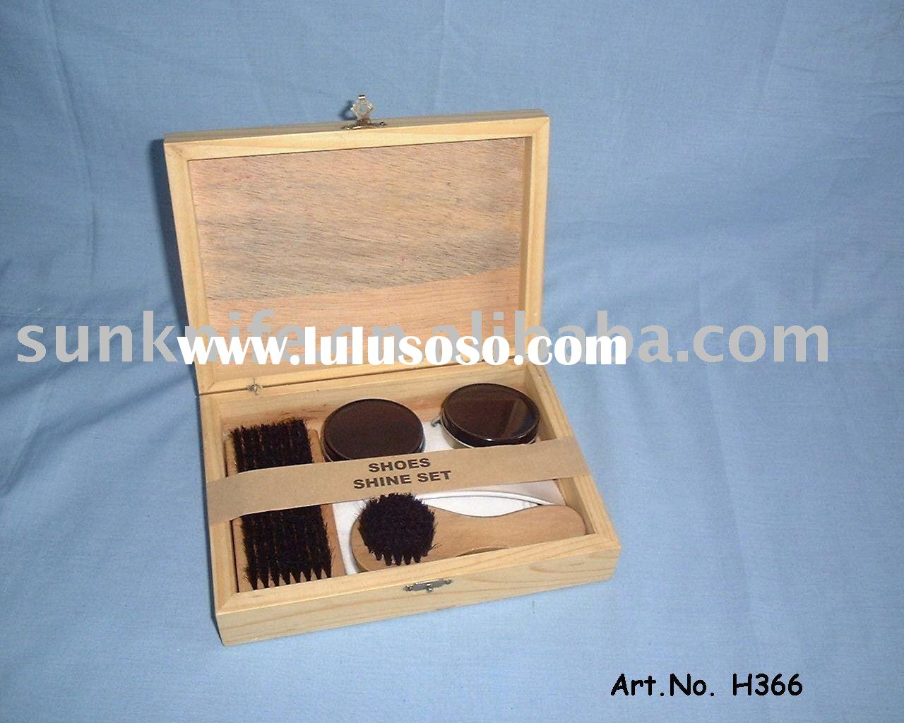 shoe shine kit with wooden case