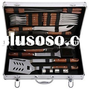 24PCS Grill Tool/Barbecue Tool Set/BBQ Tool Kit with Rose Wood Handle
