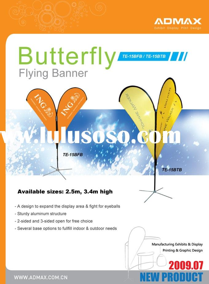 Easy Mobile Portable Outdoor Butterfly Flying Beach Banner Flag Stand for Event Promotion with Bag