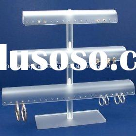 White Acrylic Tree T-Bar 60 Pair Earring Display Stand