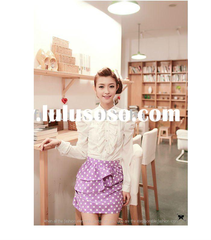 BF9696 office lady  stand-up collar long sleeve chiffon blouse (white)