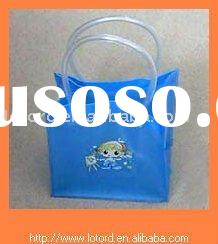 Blue plastic beach bag with handle