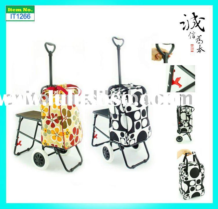 Collapsible Foldable 2 wheels Reusable Grocery Laundry Supermarket Shopping Trolley Cart Bag with Se