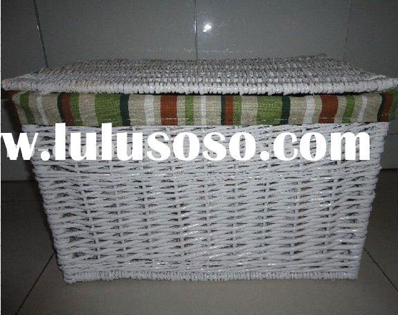 HM-131rattan white hamper basket with lid,laundry basket hamper