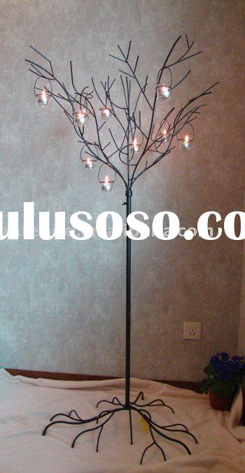 Metal candle holder  tree in antique brown