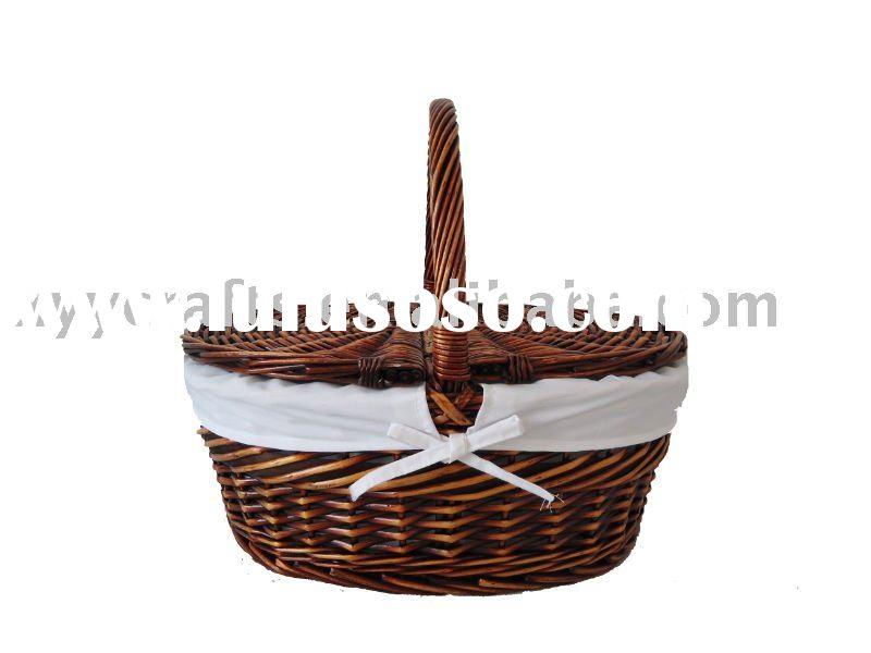 Portable Wicker Picnic Basket With Liner