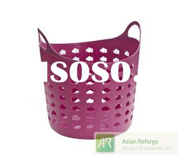 Purple Round Plastic Laundry Basket