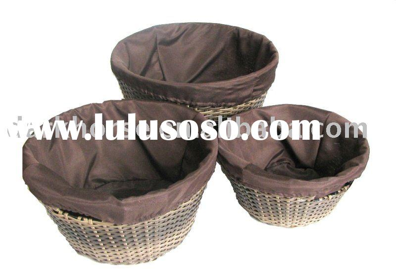 Round Plastic Laundry Basket with Lining Set of Three