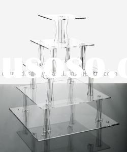 Square 5 Tier Clear Acrylic Cup Cake Stand